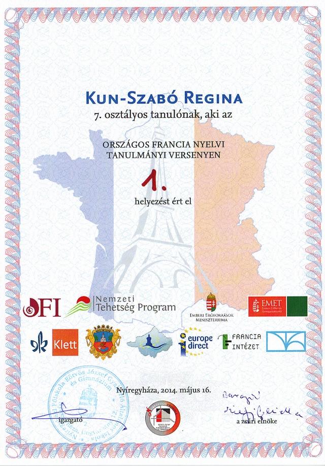 Kun-Szabó Regina francia tanulmányi verseny országos 1. másolata