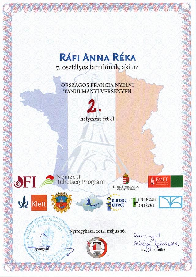 Ráfi Anna Réka francia tanulmányi országos 2. másolata