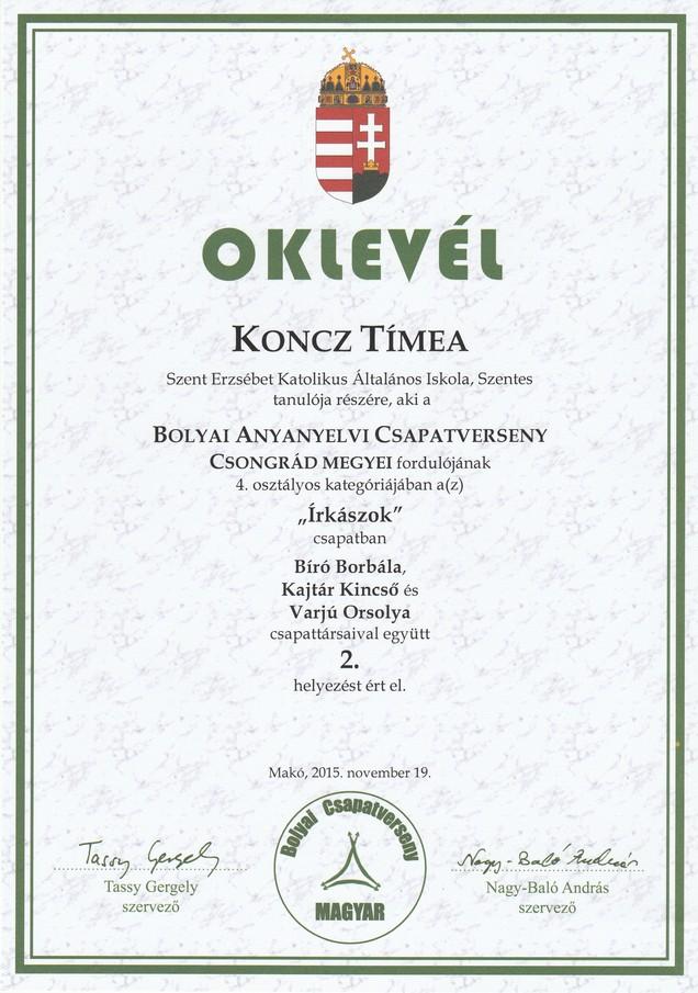 Koncz T. Bolyai anyanyelvi megyei 2. hely