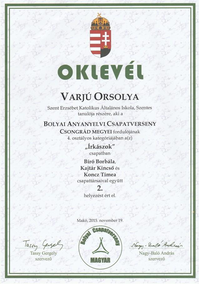 Varjú O. Bolyai anyanyelvi megyei 2. hely