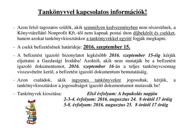 Tankönyvvel kapcsolatos információk-2