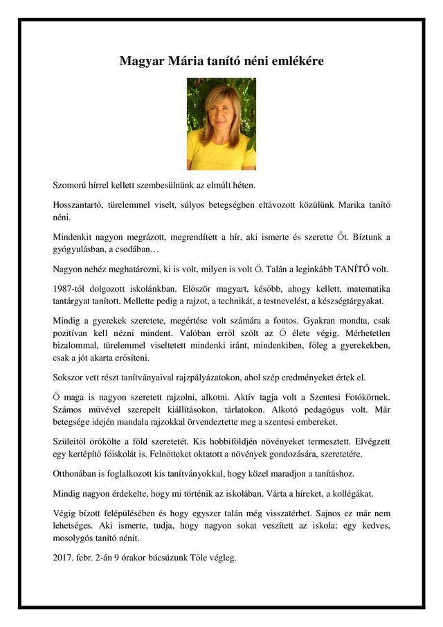 Magyar Mária tanító néni emlékére másolata